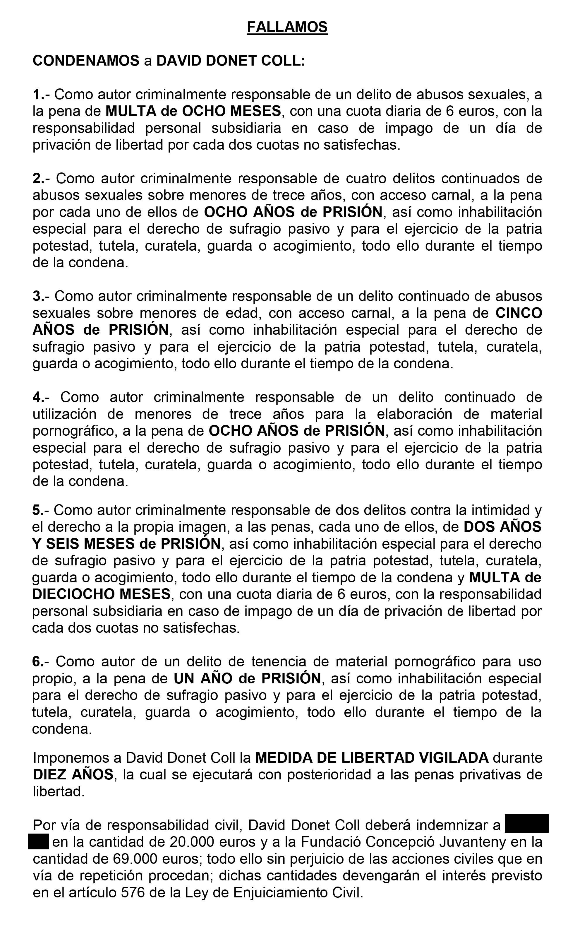 Fragmento de la Sentencia NUM 193/15 del Juzgado de Instrucción 2 de la Audiencia Provincial de Lleida al que ha tenido acceso el periodista Carles Porta.