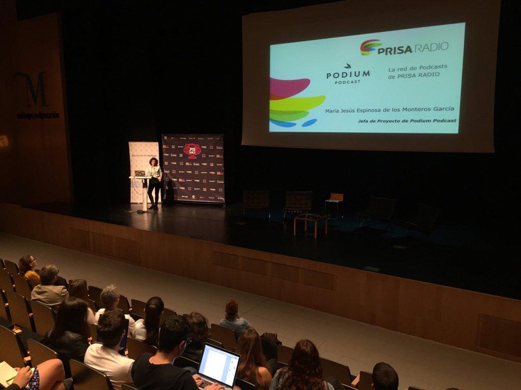 María Jesús Espinosa de los Monteros, jefa de proyecto de Podium Podcast en las JPOD 2016 de Málaga.